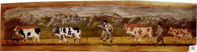 Peinture poya suisse sur une planche