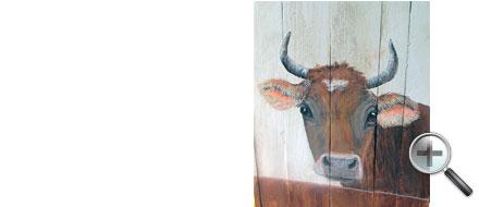 Tête de vache dans un cache pot
