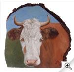 """Portrait de vache sur """"loupe"""" de sapin"""