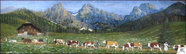 Peinture poya suisse sur un chalet